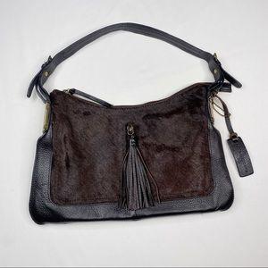 Aqua Madonna Calf Hair Purse Leather Tassel